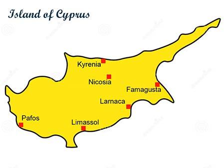 Map of Cyprus with the major cities